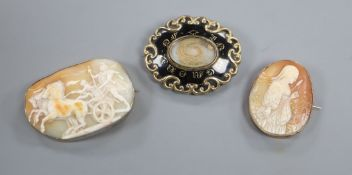 Two cameo brooches and a black enamel mourning brooch, largest 65mm.