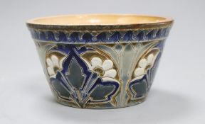 A Doulton Lambeth Aesthetic period flowerpot, by Edith D Lupton, dated 1880, with decoration to