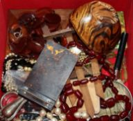 A box of sundry jewellery etc. including a simulated cherry amber necklace.