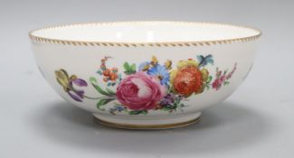 A Dresden flower-painted bowl, signed Lenar Diameter 24cm