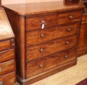 A Victorian mahogany five drawer chest W.114cm