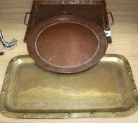 Three Arts and Crafts copper / brass trays