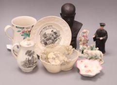 An early Bow mug and mixed ceramics mug height 15cm
