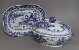 A Chinese blue and white tureen and cover and a similar dish, Qianlong tureen height 19cm