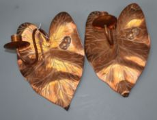 A pair of Arts & Crafts copper frog and lily pad wall lights length 28cm