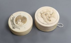 Two Japanese Meiji period ivory boxes