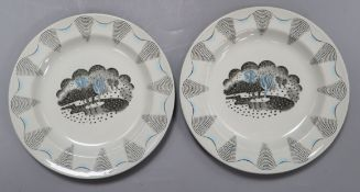 Two Wedgwood Travel design plates, designed by Eric Ravilious diameter 17.5cm