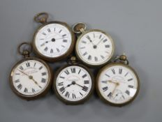 Five assorted base metal pocket watches.