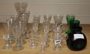 A Loetz-style vase and assorted 19th/20th century drinking glasses