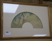 Leon Victor Solon (b.1872) - watercolour, Design for a fan leaf 17 x 33cm