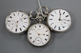 A Victorian silver fusee pocket watch, a silver Waltham pocket watch and a 935 standard pocket