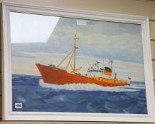 Modern British, oil on board, Portrait of the Lowestoft fishing boat St. Mark, Canadian School,