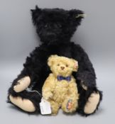 A Royal Crown Derby dark blond bear 24cm and a 1912 replica black bear, 48cm