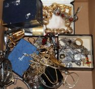 A quantity of assorted costume jewellery, including silver charm bracelet.