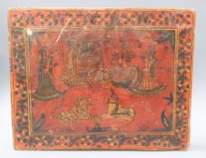 An Indian red lacquered folio case 33 x 41cm