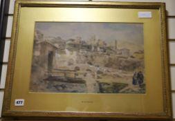 William Wood Deane (1825-1873) , watercolour, 'Italian hillside village', signed 27 x 41cm