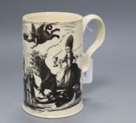 An 18th century creamware political caricature mug height 15cm