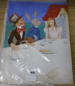 Lilian Rowles, original watercolour design for The Mad Hatters Tea Party 51 x 37cm unframed