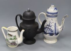 An early Worcester coffee pot, a black basalt pot and a railway related coffee pot tallest 27cm