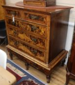An early 18th century and later mulberry chest on stand W.96cm