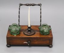 An early Victorian rosewood inkstand length 22cm