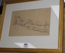 Randolphe Schwabe (1885-1948), pencil drawing, 'Holiday', initialled and dated 1936, 22 x 35cm