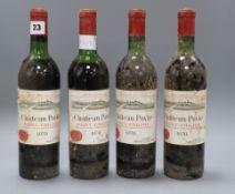 Four bottles of Chateau Pavie St Emilion 1970