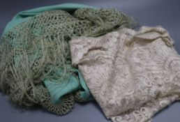 'One lace shawl and a green silk shawl'