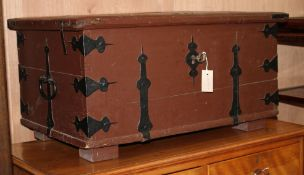 A North European painted iron bound trunk W.83cm