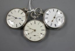 Three assorted Victorian silver open face fusee pocket watches, all with subsidiary seconds.