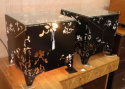 A pair of contemporary pierced metal illuminating occasional tables W.44cm