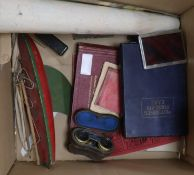 A postcard album, cigarette cards, opera glasses and sundries