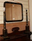 A Chinoiserie lacquer rectangular wall mirror and a pair of table lamps Mirror W.58cm
