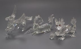 Three Swarovski Annual Edition 'Fabulous Beasts', The Unicorn, The Dragon and The Pegasus, 1996-