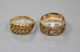 An 18ct gold knot ring and a gold overlaid band Knot ring size N, 2.9 grams, band ring size L