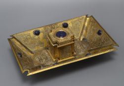 A Victorian ormolu inkstand, with lapis insets width 24cm
