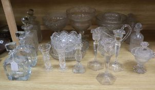 A quantity of cut glass bowls, jugs and decanters etc