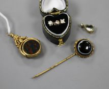 Three assorted diamond set ear studs, a pinchbeck and chalcedony fob, stick pin and a pendant(a.