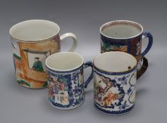 Four Chinese famille rose large mugs, Qianlong period tallest 15cm