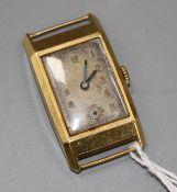 A Swiss 18ct. gold Art Deco wristwatch