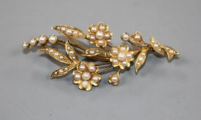 An early 20th century yellow metal and seed pearl set floral spray brooch, 52mm.