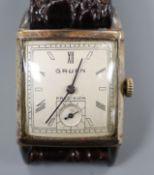 A gentleman's 1930's? 10k gold filled Gruen Precision manual wind wrist watch, with rectangular