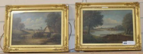 English School c.1900, pair of oils on canvas, Views of Wickford, Essex and Sittingbourne, Kent,