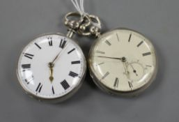 A Victorian silver open face fusee pocket watch by R. Holland, Hyde and one other verge pocket watch