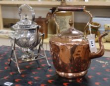 A Victorian silver plated spirit kettle and a copper kettle