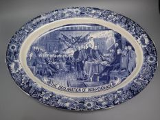 A Staffordshire blue and white transfer-printed oval platter 'The Declaration of Independence',