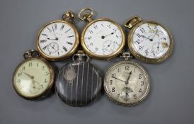 Five assorted pocket watches and a Niello cased hunter pocket watch