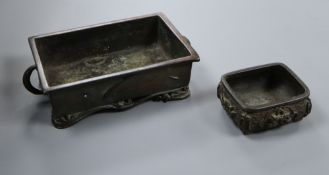 A Japanese bronze bonsai planter and another smaller