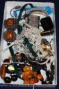A quantity of assorted costume jewellery, including a marcasite bracelet