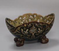 A Doulton Lambeth pierced bowl decorated by Frank A Butler, 15.5cm. diameter 15cm